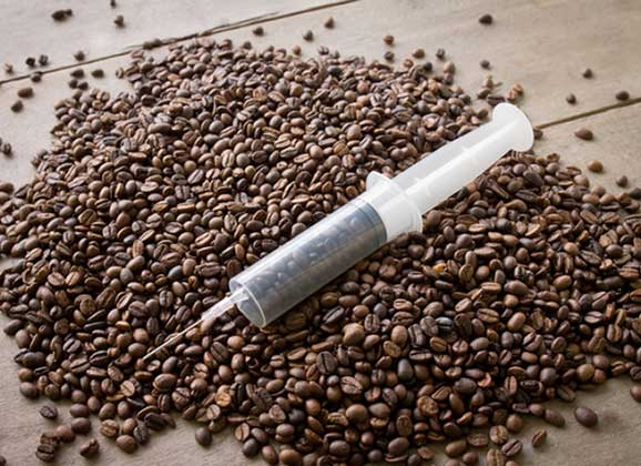 coffee beans in syringe